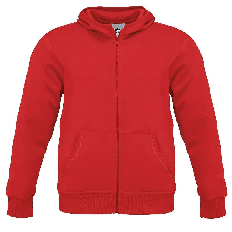 B&C Collection Monster Mens Zip Up Hoodie Hooded Sweatshirt Red M