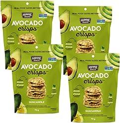 Hippie Snacks Gluten Free, Non-GMO Avocado Crisps - Guacamole, 4 x 70 gram pack