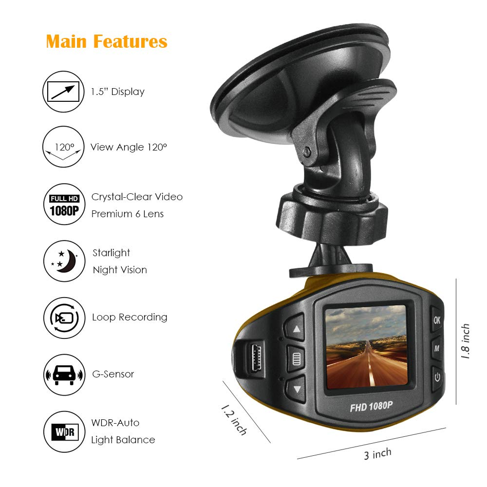 Acumen Dash Cam for Cars with Wide Angle Video Recorder Vehicle Dashboard Camera Exmor Sensor WDR Loop Recording Memory Card Included (Black)