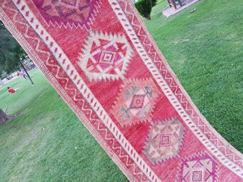 1970s Red Wool - Primitive Vintage 1970s Wool Pile Long Kurdish Kurd Runner Rug 2'9'' X 13'5''