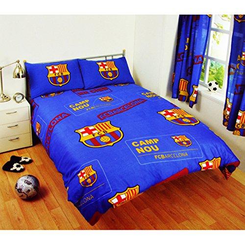 FC Barcelona Official Patch Double Football Crest Duvet Set (Double) (Blue)