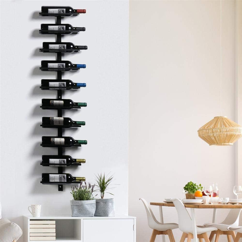 Schwarz Yaheetech Weinregal Flaschenhalter Flaschenregal Aufbewahrungsregal für die Wand aus Metall 10 Flaschen