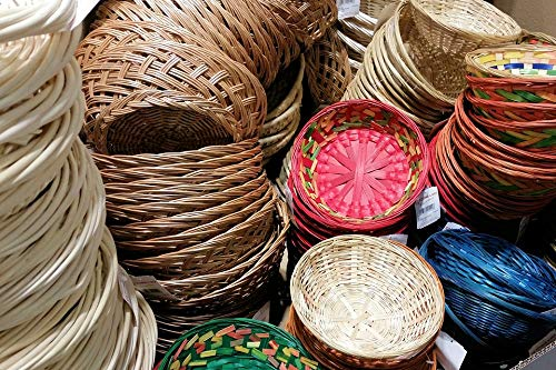 (Home Comforts Peel-n-Stick Poster of Rattan Woven Baskets Weave Wicker Sell Vivid Imagery Poster 24 x 16 Adhesive Sticker Poster)