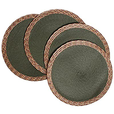 "Creative Dining Group Multi Color Border Braided Round Placemats (Set of 4), 15"", Siesta - Protects your table from scratches and stains. High Quality. GREAT VALUE! Very easy to clean.  Wipe clean with a damp cloth Perfect for indoor and outdoor use.   Made of 100 Percent polypropylene - placemats, kitchen-dining-room-table-linens, kitchen-dining-room - 61NpruHruWL. SS400  -"