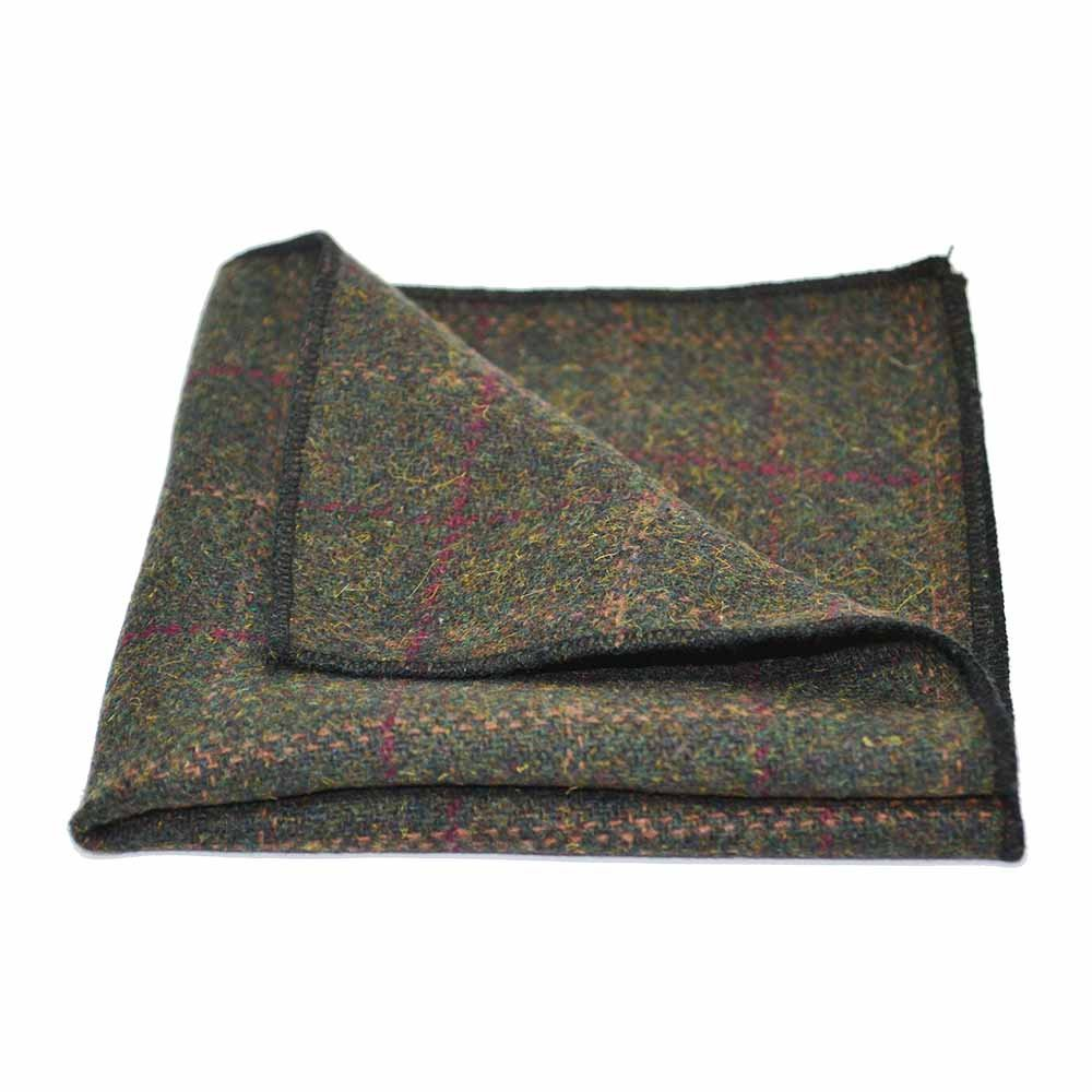 Tweed Heritage Check Moss Green Bow Tie Necktie /& Pocket Square Set Plaid