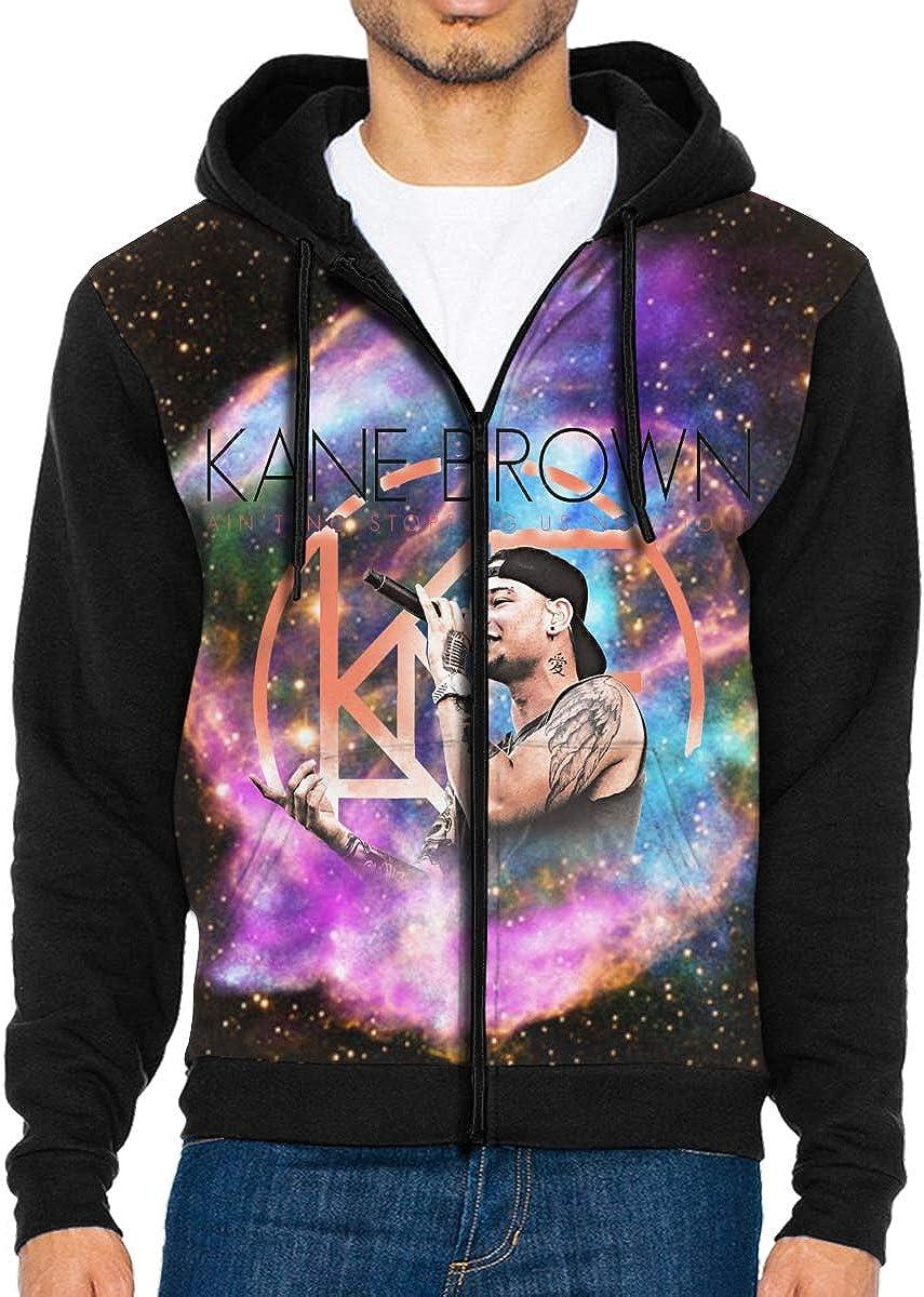 Kane/_KB Mens Jacket Printed Hoodie Sweatshirt Full Zip Casual Hat Pocket Pullover Sweater