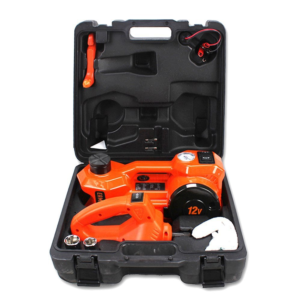 12V DC 1 Ton Electric Hydraulic Floor Jack Set with Impact Wrench For Car Use (6.1-17.1 inch, Orange) by EAMBRTE (Image #8)