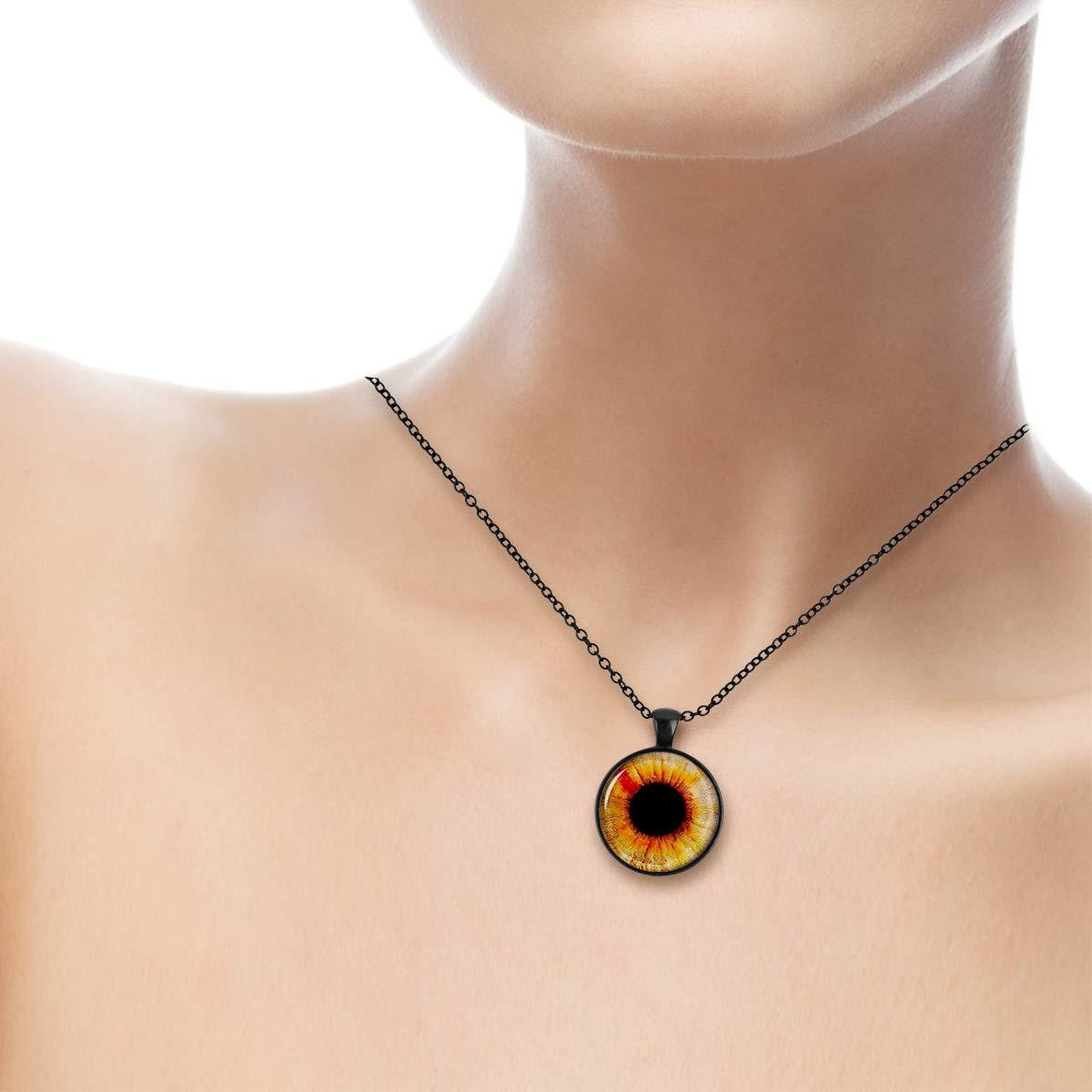 Lightrain Black Pupil Eyeball Pendant Necklace Vintage Bronze Chain Statement Necklace Handmade Jewelry Gifts
