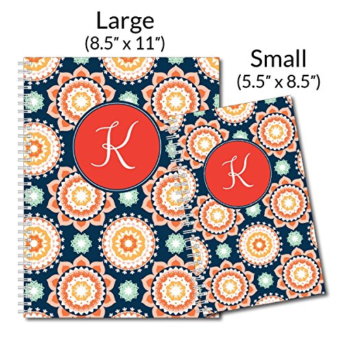 Modern Floral Personalized Monogram Spiral Notebook/Journal, 120 College Ruled or Checklist Pages, durable laminated cover, and wire-o spiral. 8.5x11 | 5.5x8.5 | Made in the USA Photo #4
