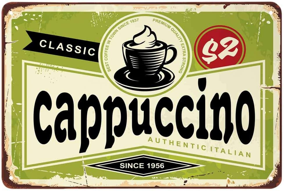 AOYEGO Cappuccino Tin Sign,Classic Italian Coffee Vintage Metal Tin Signs for Cafes Bars Pubs Shop Wall Decorative Funny Retro Signs for Men Women 8x12 Inch