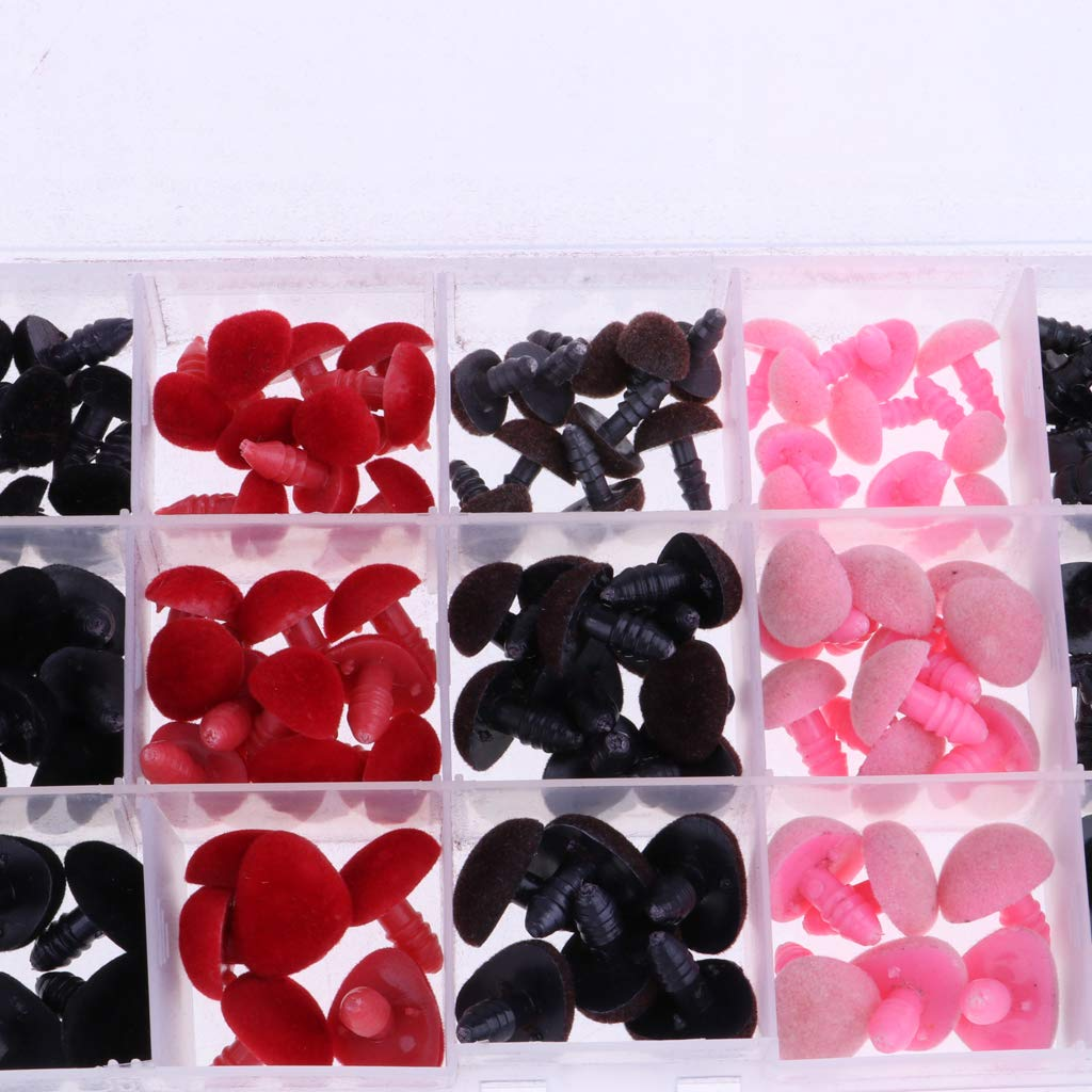 Homyl 132 Pieces Plastic Safety Nose for Bears Soft Toys Snap Animal Dolls Crafts~11-16mm Diameter Black /&Red /& Pink