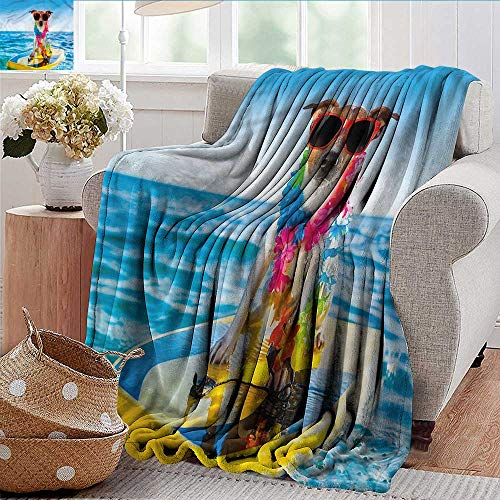 (Xaviera Doherty Weighted Blanket for Kids Ride The Wave,Dog in The Ocean Soft Summer Cooling Lightweight Bed Blanket 50