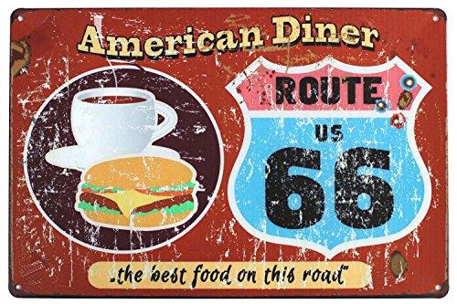 UOOPAI American Dinner Route US 66 The Best Food On This Road Vintage Metal - Vintage Food Signs