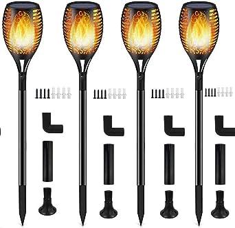Luces Antorchas Solares, Luces Solar Jardín Exterior Antorcha con Llamas 96 LED Impermeable IP65, Al Aire Libre Paisaje Decoración Iluminación, ON/OFF Automático para Patio Jardín Camino (4 piezas): Amazon.es: Iluminación