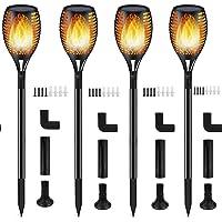 Luces Antorchas Solares de Llamas Jardín Exterior, Lámpara Antorcha con 96 LED Impermeable IP65, Exterior Paisaje Decoración Iluminación, ON/OFF Automático para Patio Jardín Camino Césped (4 piezas)