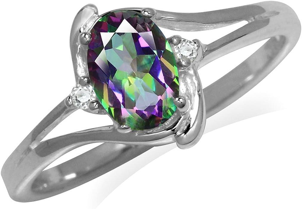 Silvershake 7x5MM Oval Shape Genuine Gemstone 925 Sterling Silver Engagement Wedding Anniversary Ring