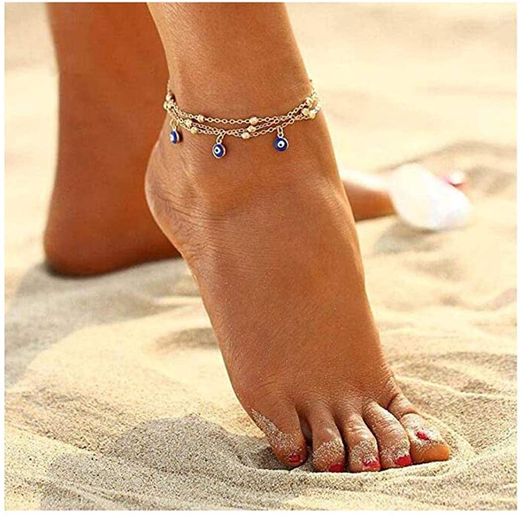 Adflyco Boho Layered Anklets Gold Beaded Anklet Bracelets Evil Eyes Beach Foot Jewelry Adjustable for Women and Girls