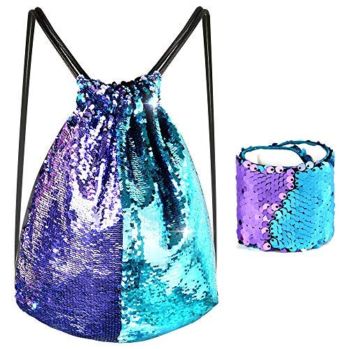 KUUQA Sequin Mermaid Drawstring Backpack Bag with Wristband Bracelet ,Magic Reversible Sequin Glitter Hiking Gym Shoulder Bag Birthday Party Favors Gifts(2 Pcs)