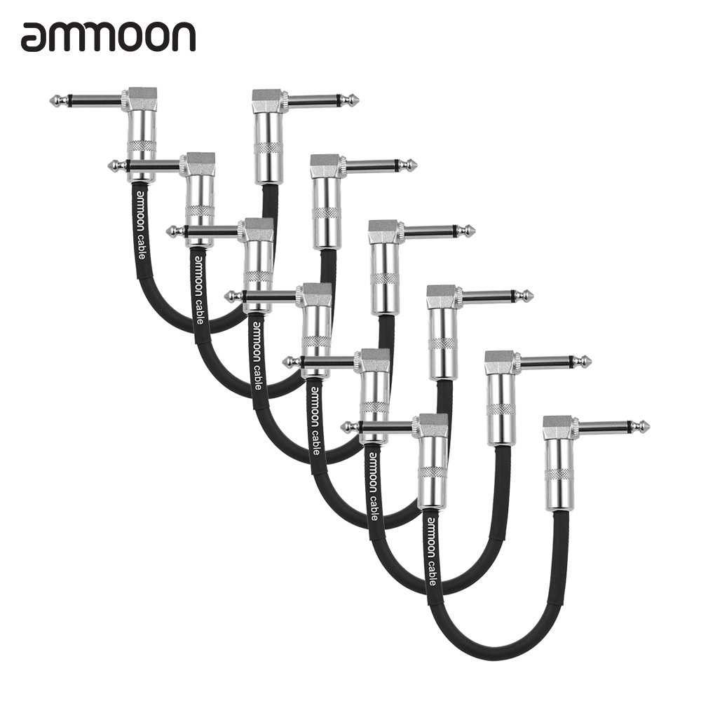 ammoon 6-Pack Guitar Effect Pedal Instrument Patch Cable 15cm/ 0.5ft Long with 1/4 Inch 6.35mm Silver Right Angle Plug Black PVC Jacket