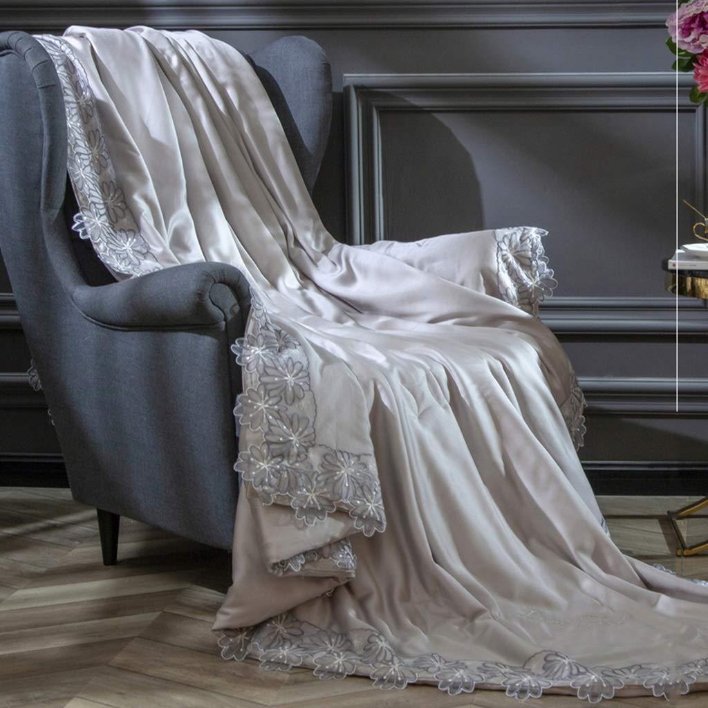 夏のTencelライトベッドキルト、洗える薄型羽毛布団ベッドキルト夏の吸湿性通気性の夏のエアコンキルトクールツイン掛け布団 (Color : Gray) B07TFHSMSM Gray