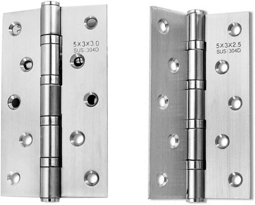Wood Door 5 inch 2.5//3mm Exquisitely Designed Durable Stainless Steel Free Slot Bearing Thickened Mute Sub-Door Hinge Color: 5 inch 2.5