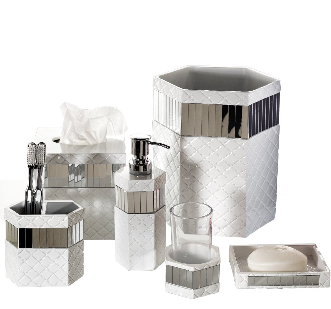 Creative Scents Quilted Mirror Bathroom Accessories Set, 6 Piece Bath Set Collection Features Soap Dispenser, Toothbrush Holder, Tumbler, Soap Dish, Tissue Cover, Wastebasket Quilted Mirror-group