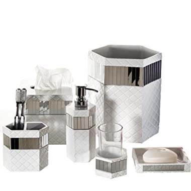 Creative Scents Quilted Mirror Bathroom Accessories Set, 6 Piece Bath Set Collection Features Soap Dispenser, Toothbrush Holder, Tumbler, Soap Dish, Tissue Cover, Wastebasket