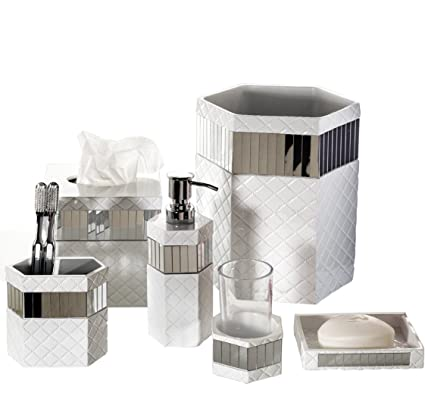 Charmant Creative Scents Quilted Mirror Bathroom Accessories Set, 6 Piece Bath Set  Collection Features Soap Dispenser