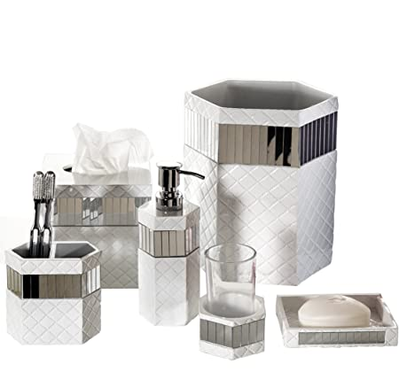 Bathroom Accessories.Creative Scents Quilted Mirror Bathroom Accessories Set 6 Piece Bath Set Collection Features Soap Dispenser Toothbrush Holder Tumbler Soap Dish