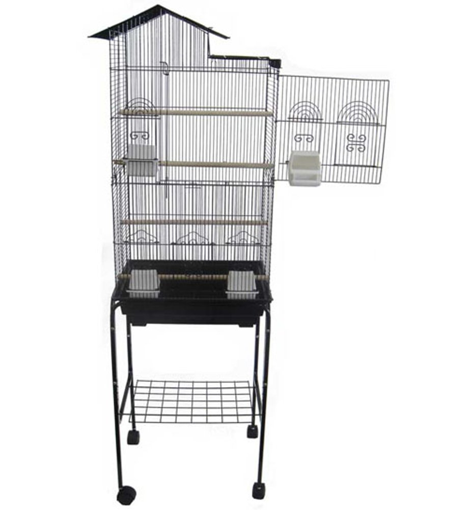 Yml 6894 3/8-Inch Bar Spacing Tall Villa Top Bird Cage with Stand-18-Inch X14-Inch in White 6894_4814WHT