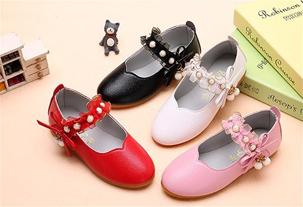 IINFINE Girls Leather Look Princess Mary Jane Ballet Flat Slip On Solid Color with Grosgrain Bow
