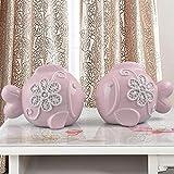 BWLZSP 1 pair Modern fashion home furnishings living room ceramics animal adornment decorations LU613529 (Color : Pink)