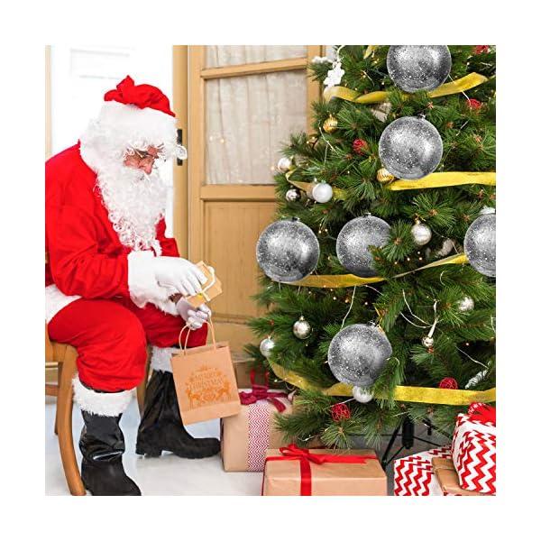 Palline di Natale Grandi Argento - Palline di Natale Argento da 19,5cm con Corda - Addobbi Natalizi Palle di Natale Argento - Palline di Natale Grandi in Plastica- Decorazioni Albero di Natale Argento 7 spesavip