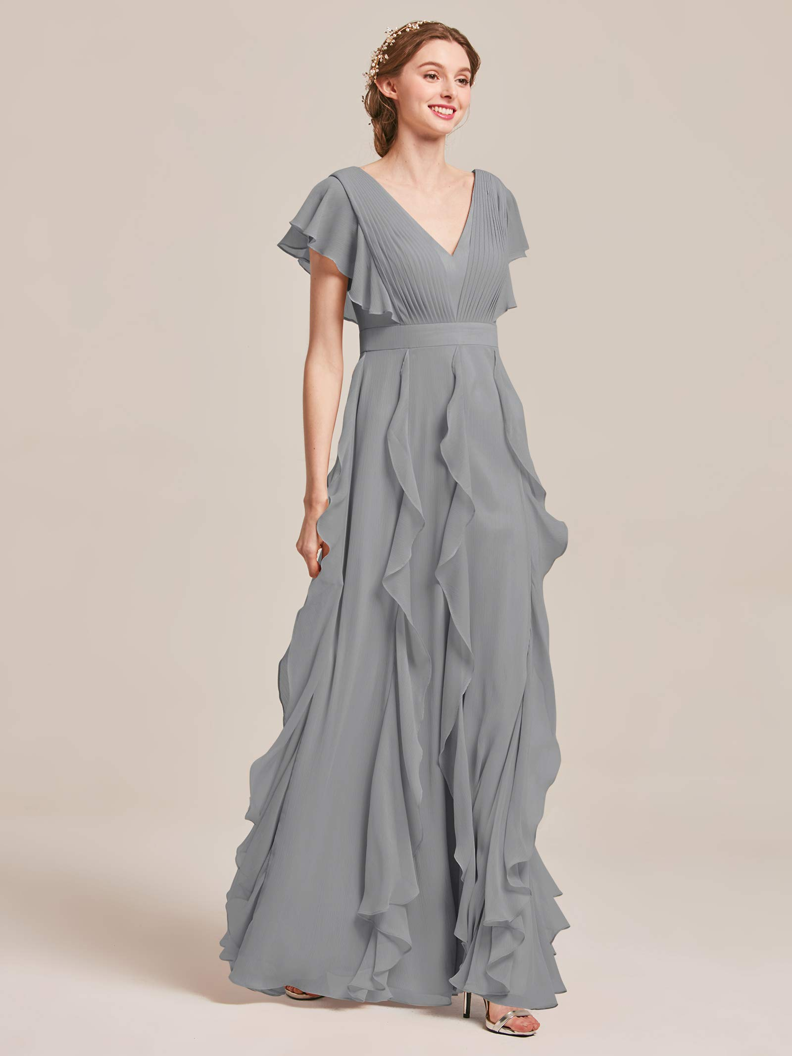 AW Bridal Plus Size Bridesmaid Dresses for Women Formal Dresses with  Sleeves Chiffon Long Gowns and Evening Dresses, Dove, US18