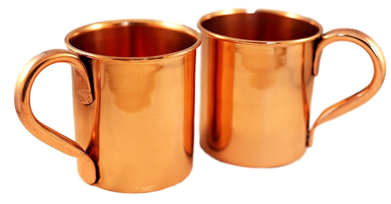 Copper Mugs for Moscow Mules Unlacquered No Coating - Set of 2-100% Pure Heavy