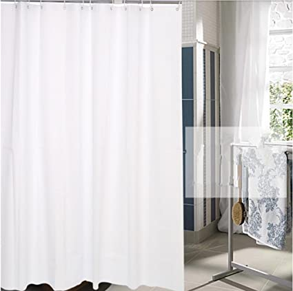 GYMNLJY White Plastic Shower Curtain Waterproof Mildew Bathroom Cut Off Hanging Send The Hook