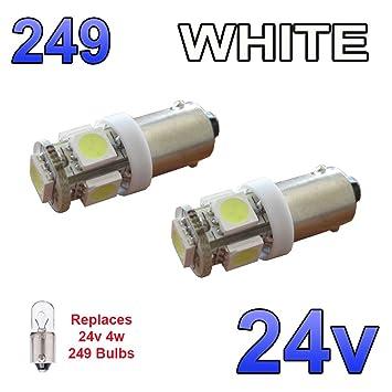 2 x Blanco 24 V LED luz lateral 249 BA9S T4 W 5 SMD brillante de bayoneta bombillas, camión: Amazon.es: Coche y moto