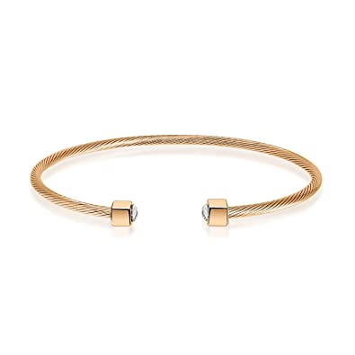 795a8947166 I'S ISAACSONG 14k Gold Plated Expandable Twisted Cable Wire CZ Crystal Cuff  Bangle Bracelet for Women
