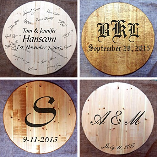 Custom-made Wine or Bourbon Whiskey Barrel Head, Wedding Guest Book | Wall Art | Lazy Susan | Serving Tray | Table Top