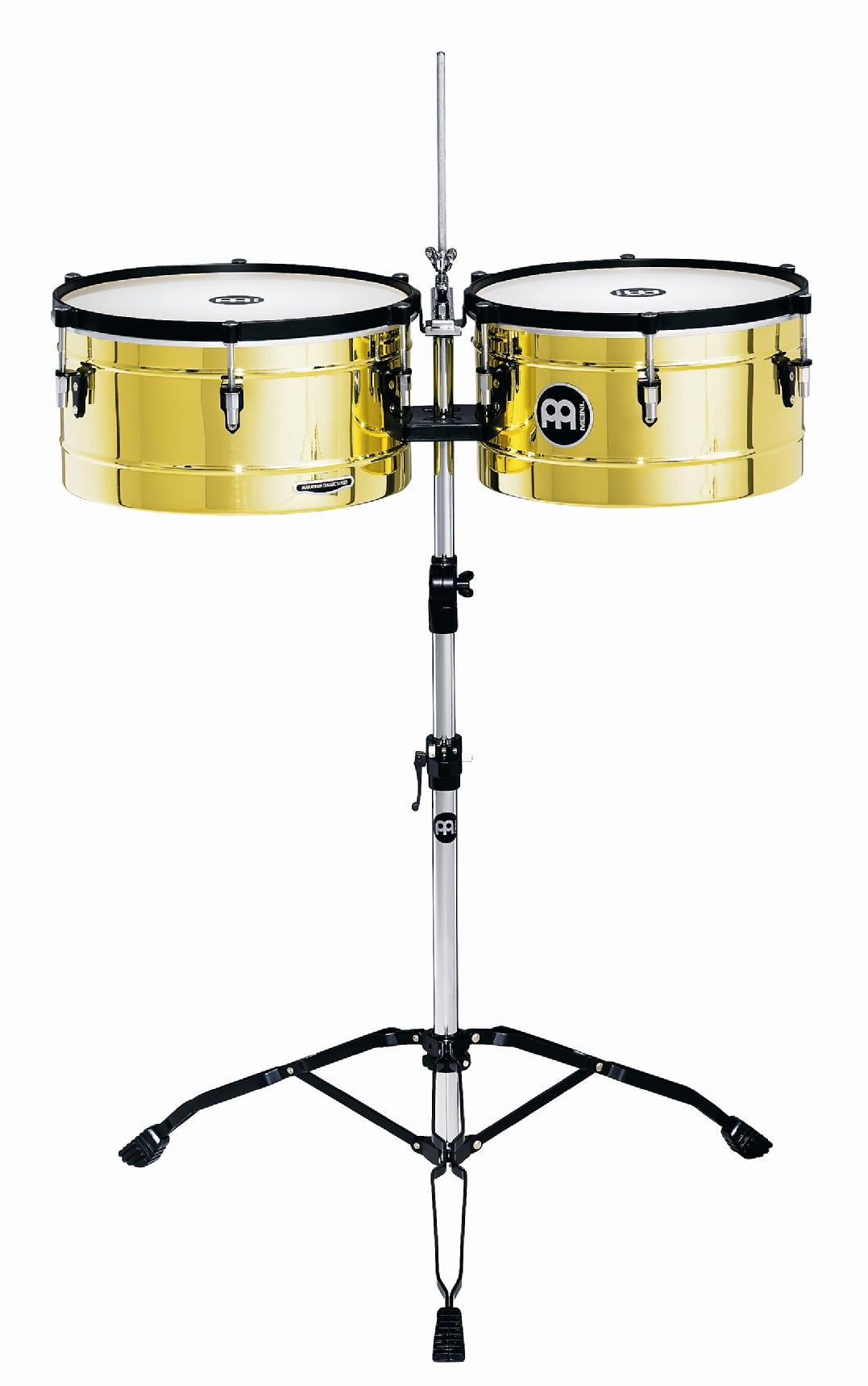 Meinl Percussion MT1415B Marathon Series Brass Finish Steel Timbales, 14-Inch and 15-Inch with Stand
