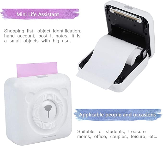 Royoo Mini Imprimante Photo Portable,Imprimante Thermique sans Fil,Imprimante Photo Imprimante Dautocollants Bluetooth pour iOS//Android