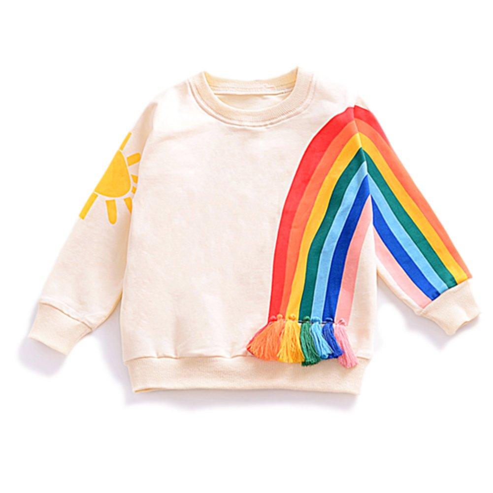 YOHA Baby Girls Autumn Soft Rainbow Top Blouse Long Sleeve Toddler Casual Tops Rainbow,90