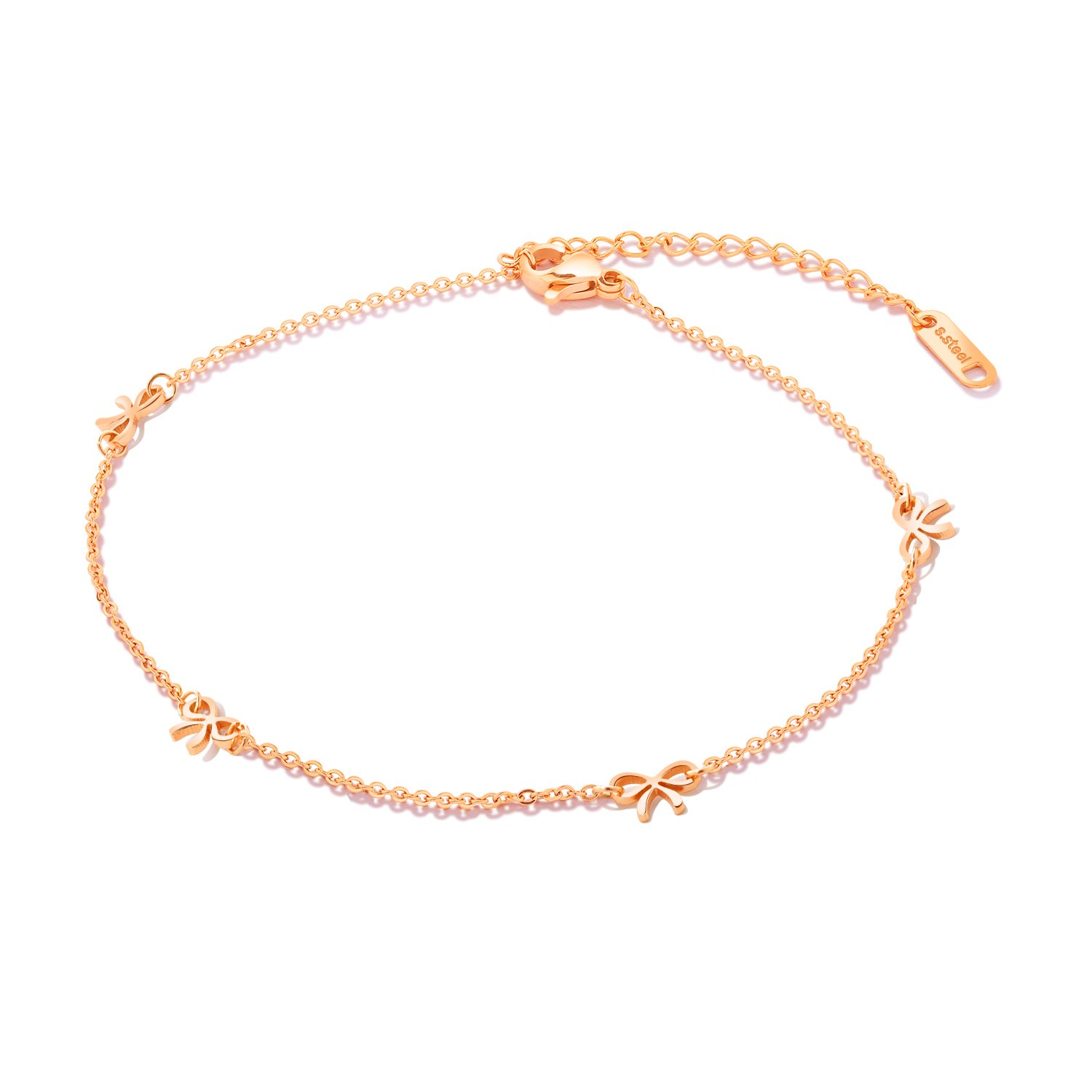 Fate Love Jewelry Women Girls Lovely Rose Gold Bow-knot Foot Chain Anklets Bracelets, Beach Sandals Barefoot Adjustable Link