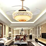 RS Lighting Ceiling Fan Chandelier with Remote Control 42 inch Retractable Blades Ceiling Fan Light Decorative Bedroom Restaurant Living Room Hotel-Gold