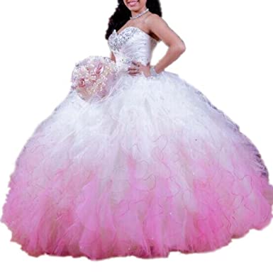 DreHouse Womens Ombre Beaded Tutu Sweet 16 Prom Dresses Tulle Pageant Ball Gowns
