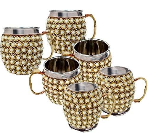 Rastogi Handicrafts Stainless Steel Beer , Vodka, Wine, Cocktail, Mocktail , Juice , Cold drink Mule Moscow Mug -Cup (6) by Rastogi Handicrafts