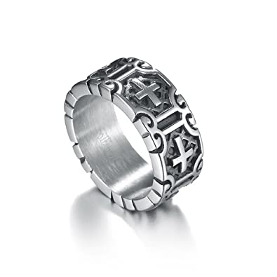 6a2e14df1441a4 BONFASH Fashion Stainless Steel Rings for Men Jesus Cross Jewelry ...