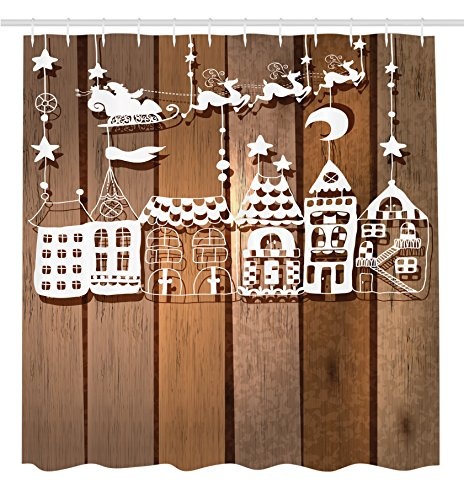 Holiday Season Santa (Ambesonne Christmas Decorations Collection, Wood Rustic Design Holiday Season Theme Santa in Sleigh House Paper Art Picture, Polyester Fabric Bathroom Shower Curtain, 84 Inches Extra Long, White Brown)