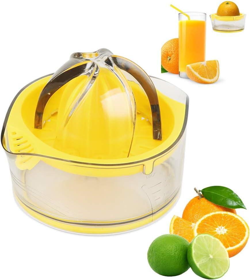 Lemon Juicer Hand press Orange Squeezer Citrus Manual Fruit Juicer Lime with Clear Graduated Container,Transparent Yellow