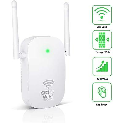 Kosiy WiFi Amplificador-Amplificador Señal WiFi 1200Mbps Repetidor WiFi Doble Banda 2.4G & 5G Amplificador WiFi con Antenas integradas de Puerto LAN, Fácil de Configurar, EU Plug